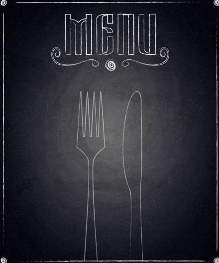 Restaurant menu with blackboard background vector 07