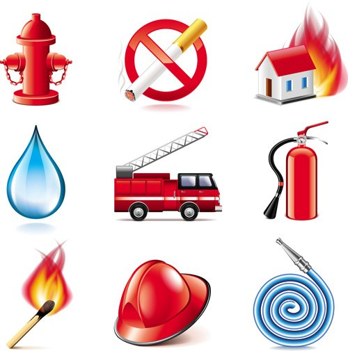 Shiny fire series icons vector