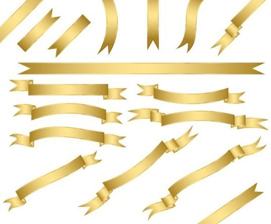 Shiny golden ribbon vector set 02