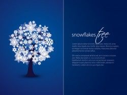 Snowflakes Tree Card Vector Graphic