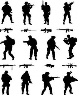 soldier silhouettes vector set 01