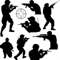 soldier silhouettes vector set 02