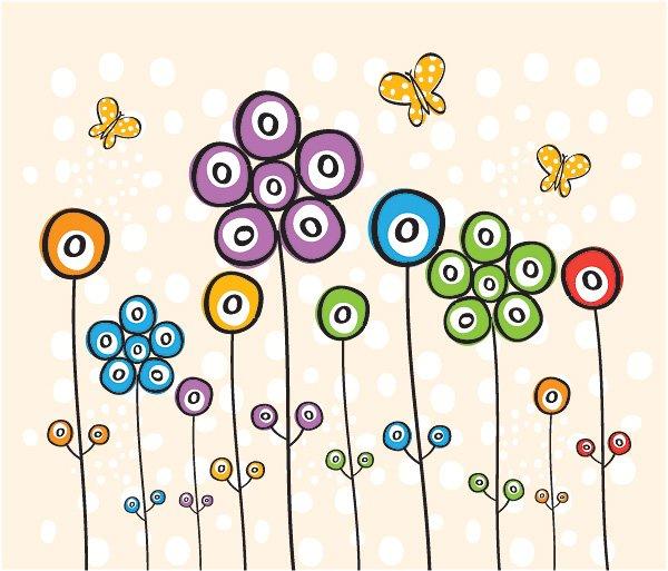 Spotty Flowers Vector