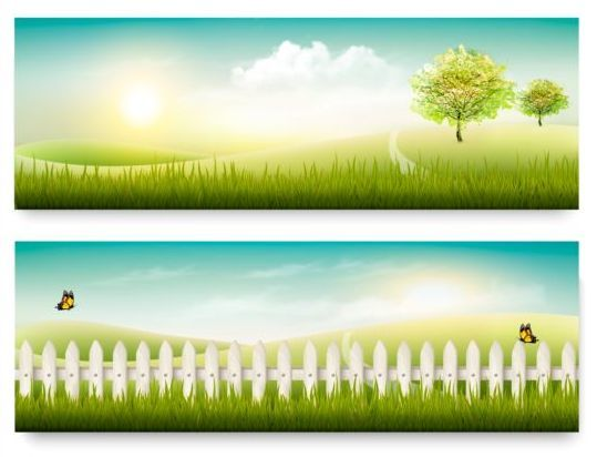 Summer holiday countryside banners vector