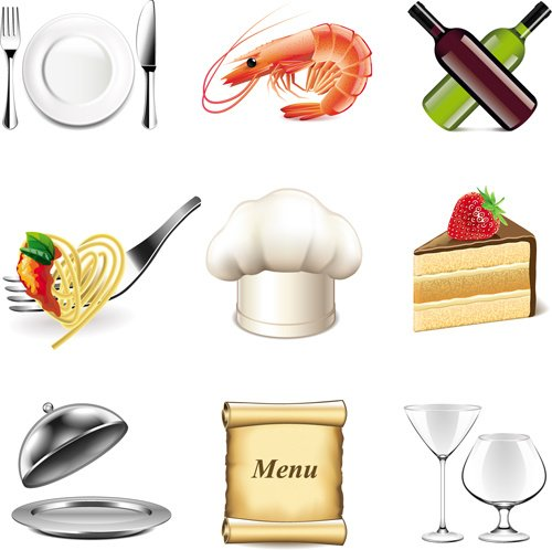Tableware with food vector icons set