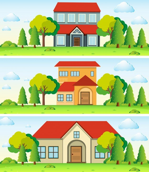 Three scenes with house in the field
