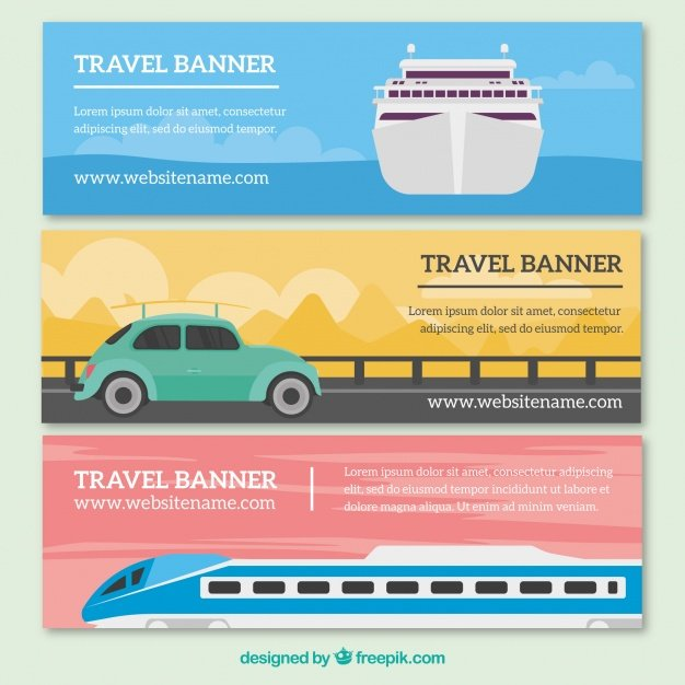 Travel banners with transport
