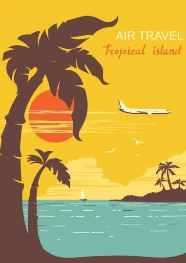 Tropical island air travel vintage poster vector 05