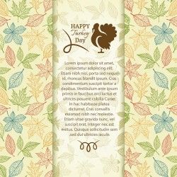 Turkey day background with leaves vector