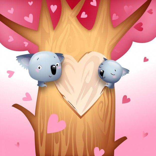 Valentine's Day Koala Bears with Love Hearts on Tree