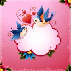 Valentine's Day Love Birds with Hearts and Word Balloon Vector