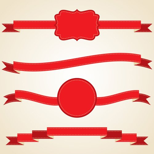 Various red ribbons vector