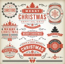 Vintage15 christmas labels creative vector