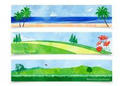 Watercolor Landscape Banners Vector