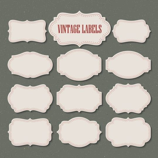 White retro labels vector