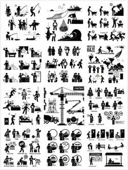 Cartoon black villain vector picture