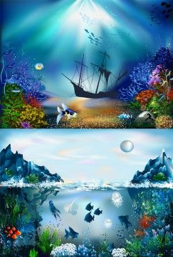 Beautiful submarine scenery vector material