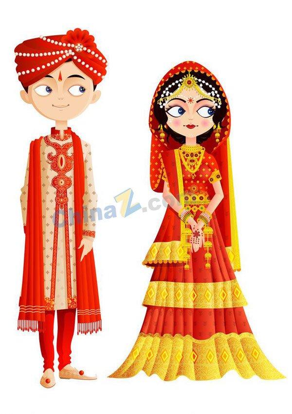 Indian traditional wedding dress vector