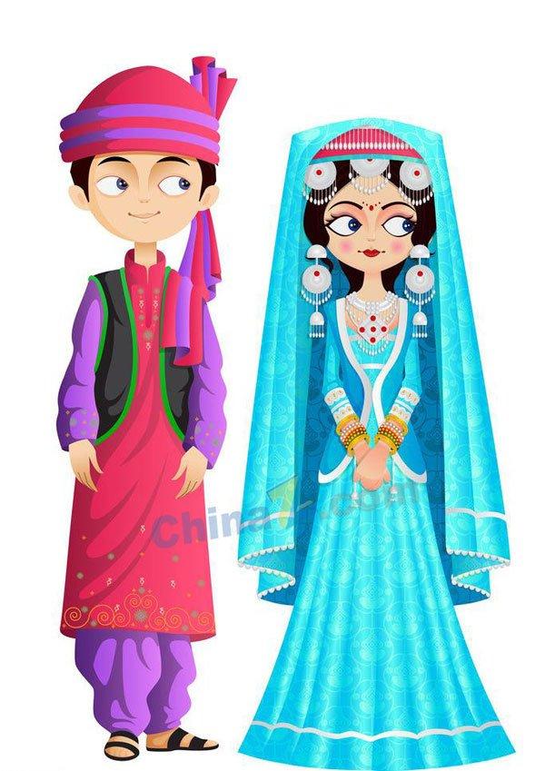 Brunei traditional wedding dress vector