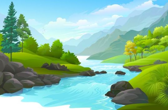 Beautiful Jungle landscape vector graphics 05