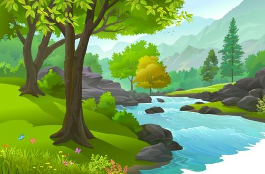 Beautiful Jungle landscape vector graphics 02