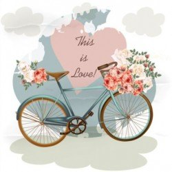 Bicycles with pink roses flower and heart background vector