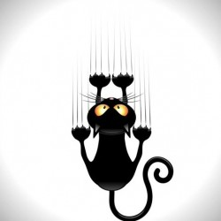 Black cartoon cat with claw trace vector 01