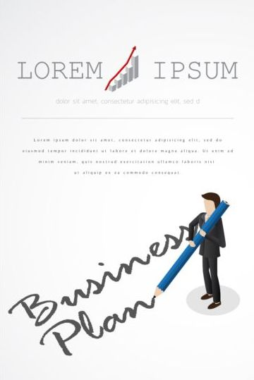 Businessman with pencil vector template 01