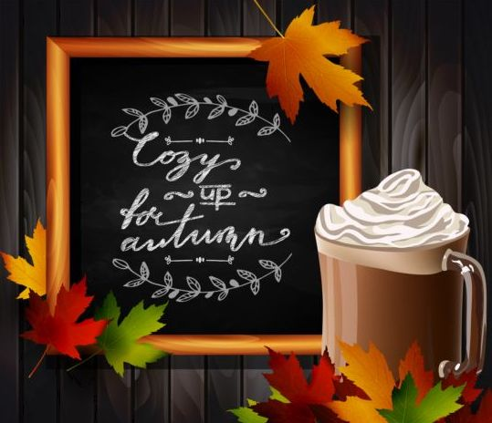 Chalkboard frame with autumn leaves and wooden background 03