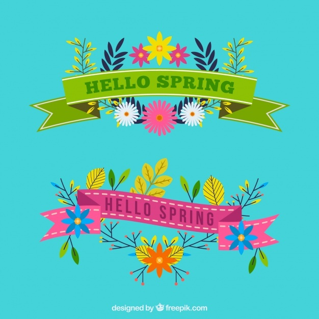 Decorative ribbons with colorful flat flowers for spring