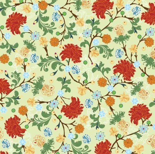 Elegant floral retro pattern seamless vector 03