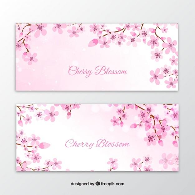 Elegant watercolor flower banners