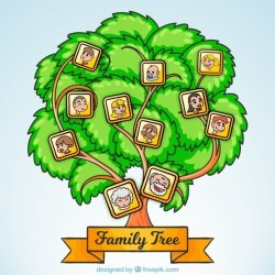 Fantastic family tree with cheerful members