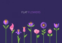 Flat Flowers Greeting Card Vector