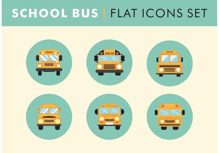 Flat School Bus Icons Set Vector Free