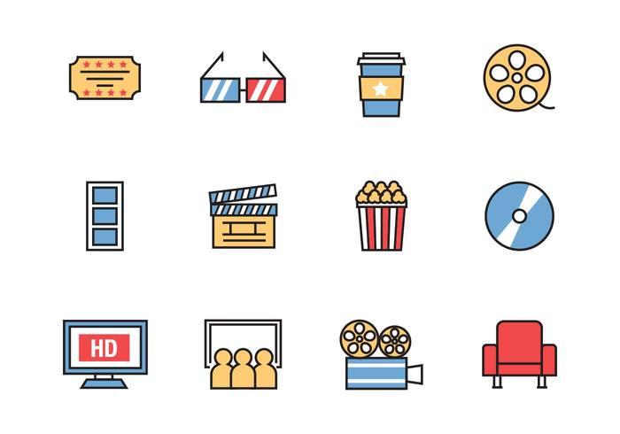 Free Cinema Icons Line Style Vector
