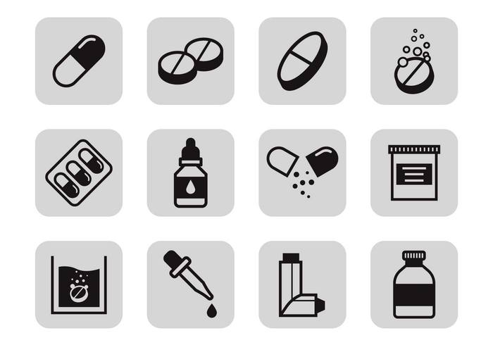 Free Drugs and Medicine Icons Vector
