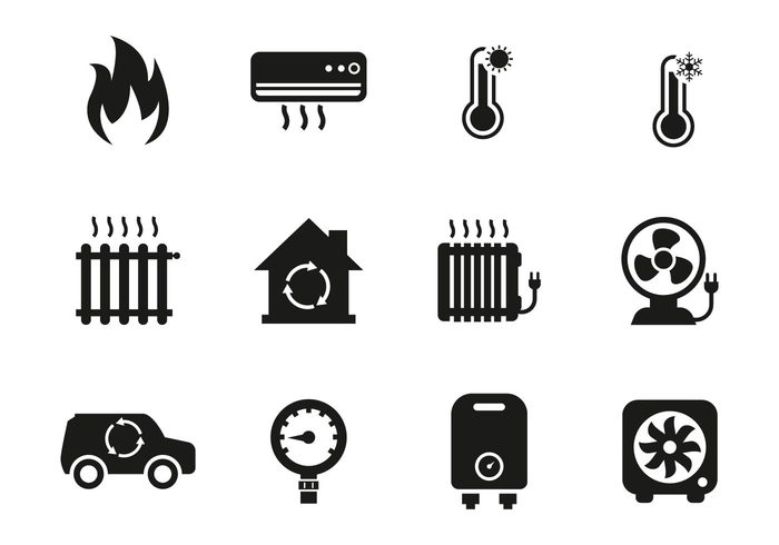 Free Heating and Cooling Icons Vector