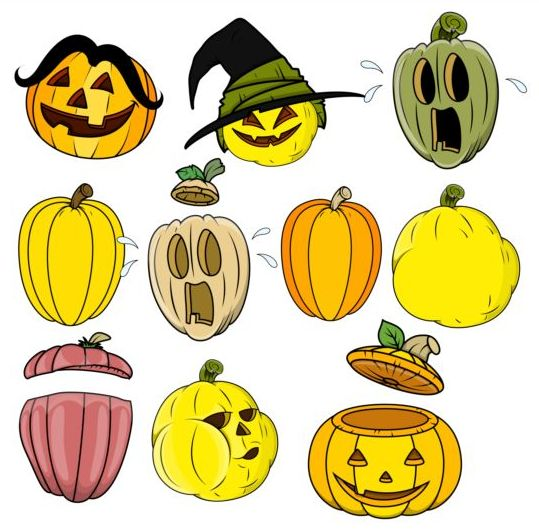 Funny halloween pumpkin set vector