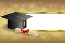 Graduation cap with diploma and golden abstract background 06