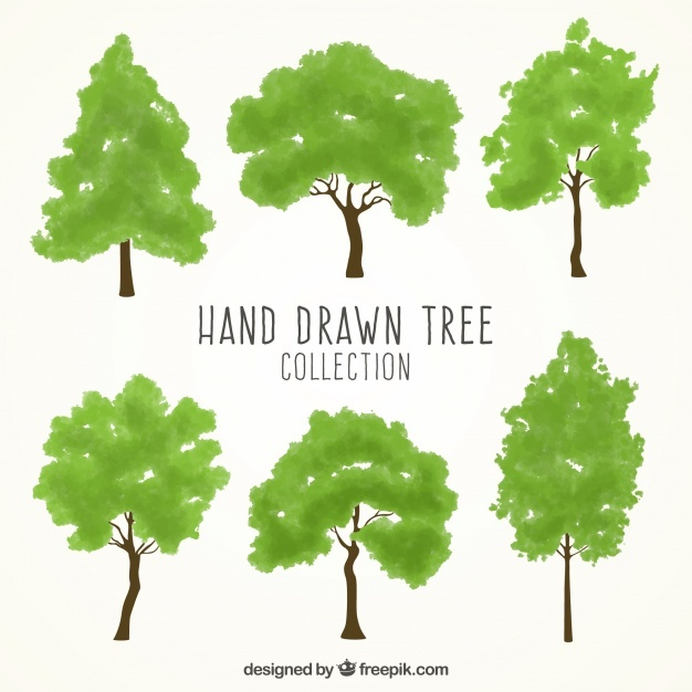 Hand-drawn set of green trees