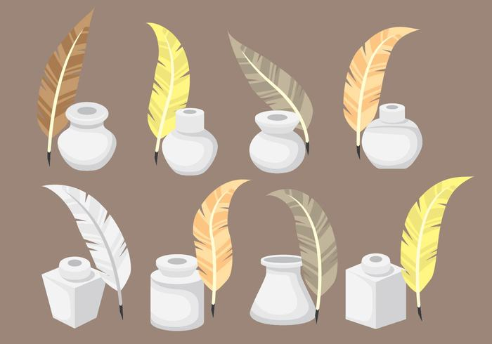 Inkwell Icons with Feather Vectors