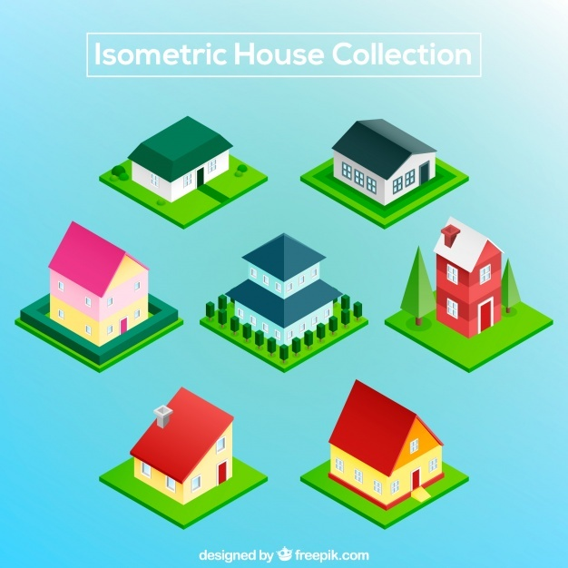 Isometric pack of colorful houses