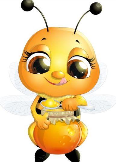 lovely cartoon bee set vectors 04