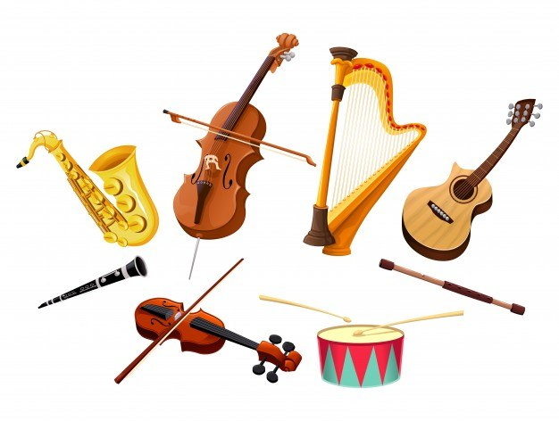 Musical instruments vector isolated objects