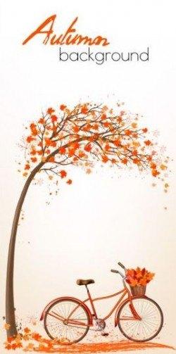 Nature autumn background with red trees and bike vector 03