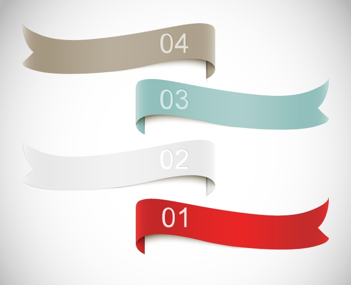 numbered with colored ribbon vector