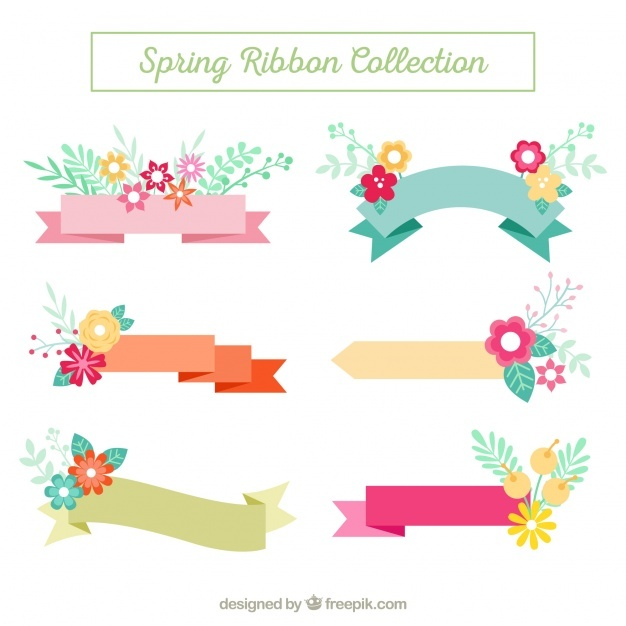 Pack of ribbons with floral details