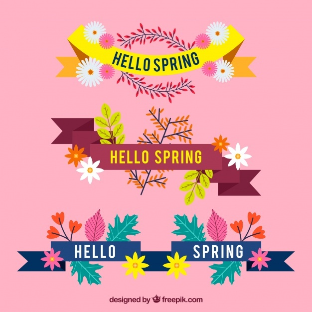 Pack of three spring ribbons in flat design