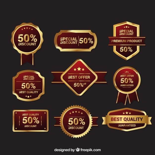 Premium retro golden badge pack